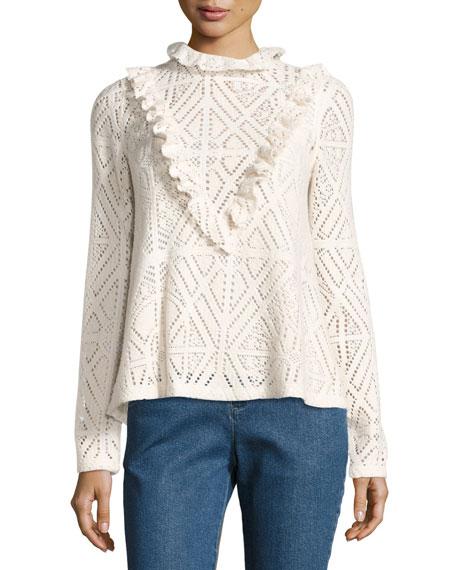 High-Neck Crochet Top w/ Ruffled Trim
