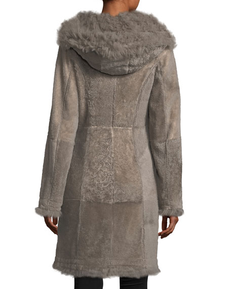 Reversible Fitted Lamb Shearling Long Coat w/ Oversized Hood
