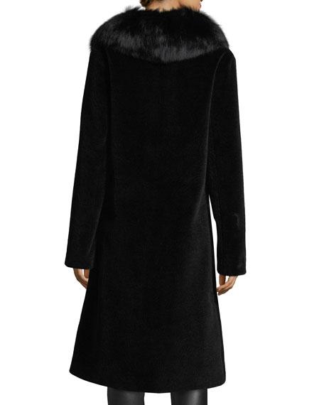 Long Single-Button Sheep Fur Coat w/ Fox Collar