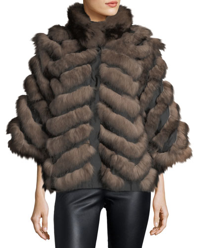 Chevron Fox Fur Cape Coat
