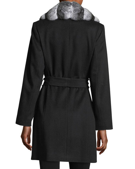 Chinchilla-Trim Belted Cashmere Wrap Coat