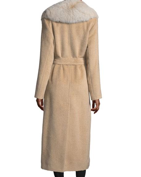 Shawl-Collar Belted Baby Suri Alpaca Duster Coat w/ Fox-Fur