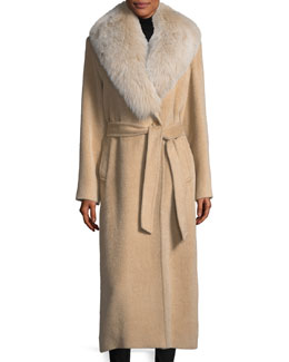 Shawl-Collar Belted Baby Suri Alpaca Duster Coat w/ Fox-Fur