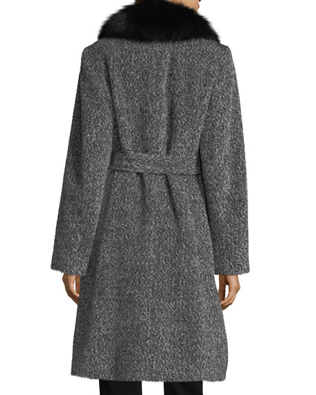 Fox Shawl-Collar Belted Three-Button Wool-Blend Coat