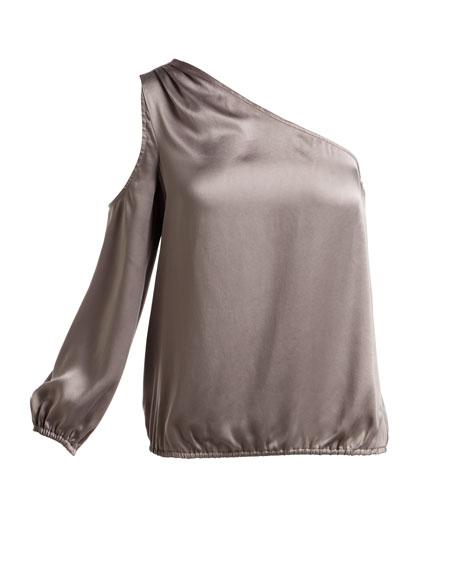 Abatha One-Shoulder Blouson Satin Top