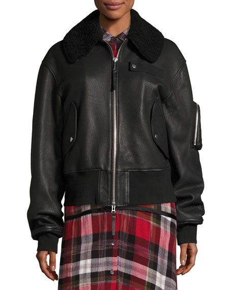 Guila Leather Moto Jacket w/ Shearling Fur