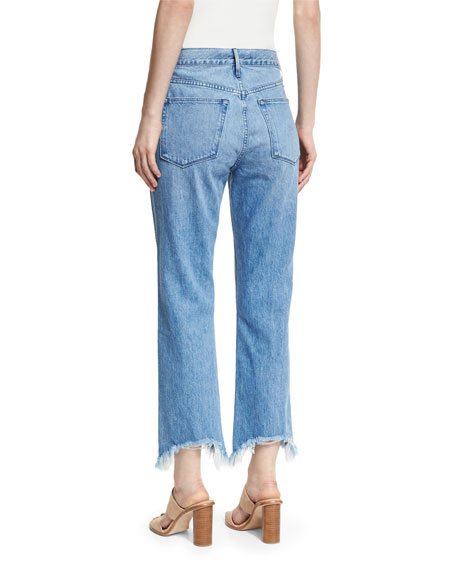 W4 Shelter Austin Raw-Edge Straight-Leg Cropped Jeans
