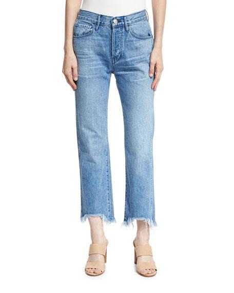 W4 Shelter Austin Raw-Edge Straight-Leg Cropped Jeans