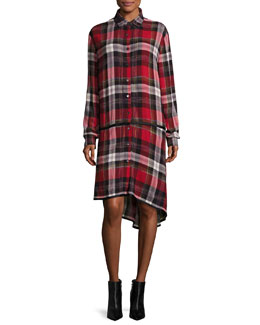Ilha Plaid Button-Front Drop-Waist Shirtdress