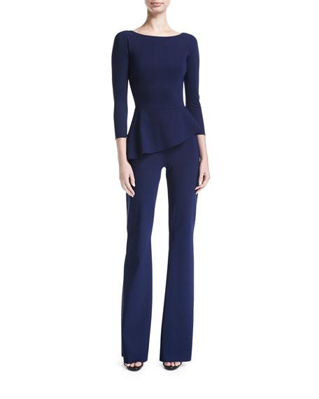 Savy Bateau-Neck Peplum Wide-Leg Jersey Jumpsuit