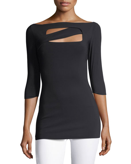 Becca Bateau-Neck Cutout Evening Top