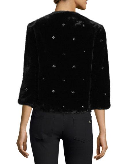 Nayland Open-Front Faux-Fur Jacket w/ Embellishments