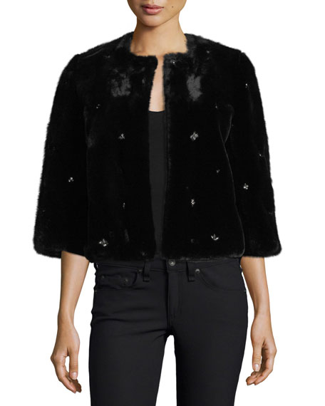 Nayland Open-Front Faux-Fur Jacket w/ Embellishments