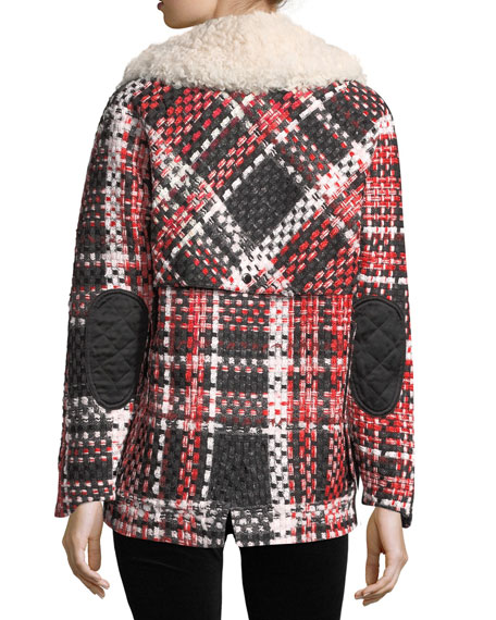 Antione Button-Front Tweed Jacket w/ Shearling