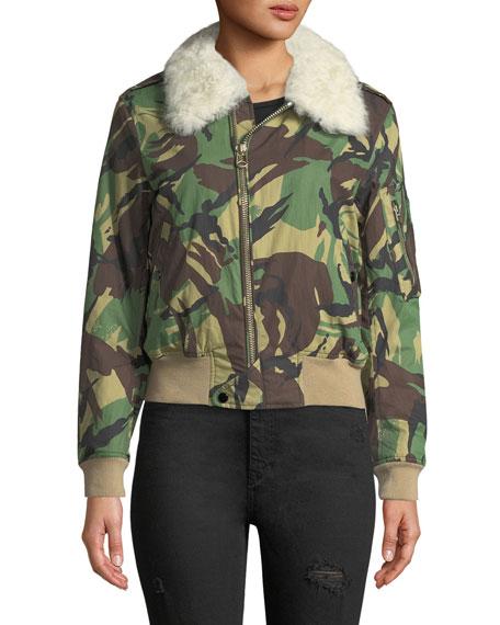 f2aaeeaa Rag & Bone Flight Zip-Front Camouflage Jacket with Fur Collar