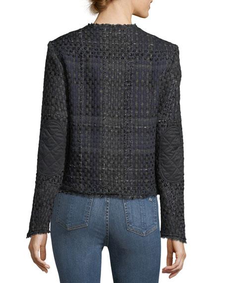Indie Snap-Front Tweed Blazer