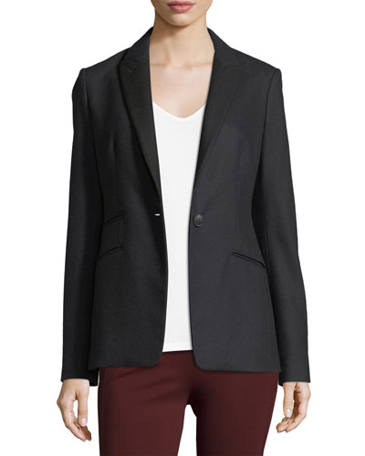 Duke Single-Button Tailored Wool Blazer