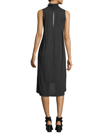 Nova Turtleneck Sleeveless High-Low Shift Dress