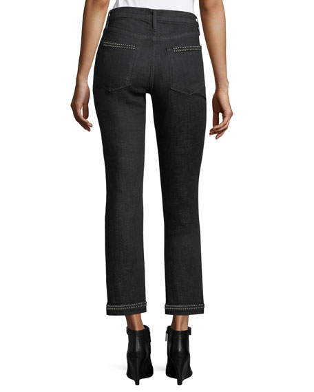 Le Studded High-Rise Straight-Leg Ankle Jeans