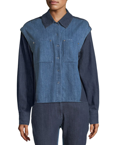 Quasay Snap-Sleeves Two-Tone Denim Shirt