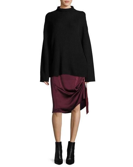 Sanaa Satin A-Line Midi Skirt