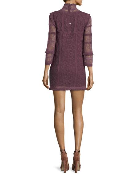 Gia Crochet Lace Long-Sleeve Babydoll Dress