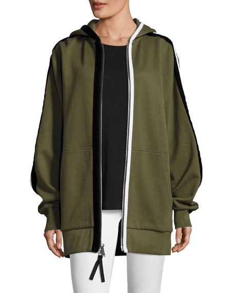 Leta Hooded Oversized Jacket w/ Striped Trim
