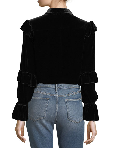 Velvet Victorian Button-Front Ruffle Blouse