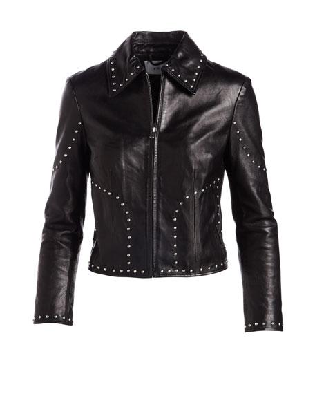 Studded Motorcycle Lamb Leather Jacket