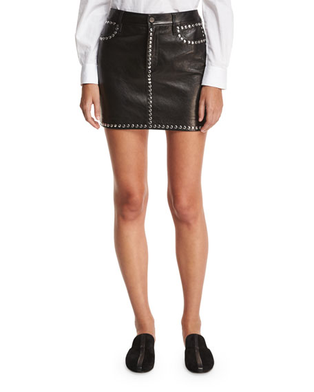 Studded Leather Short Pencil Skirt