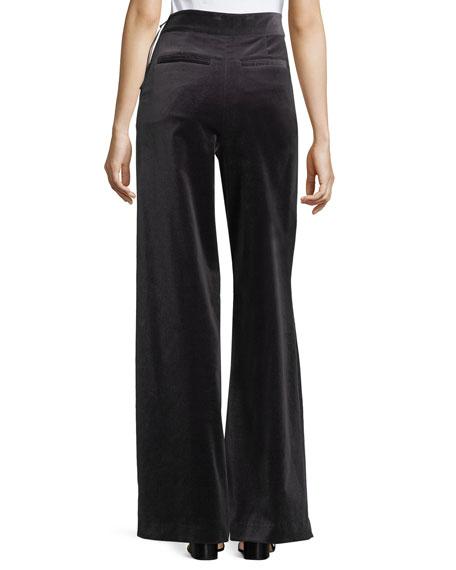 Velvet High-Waist Wide-Leg Pants