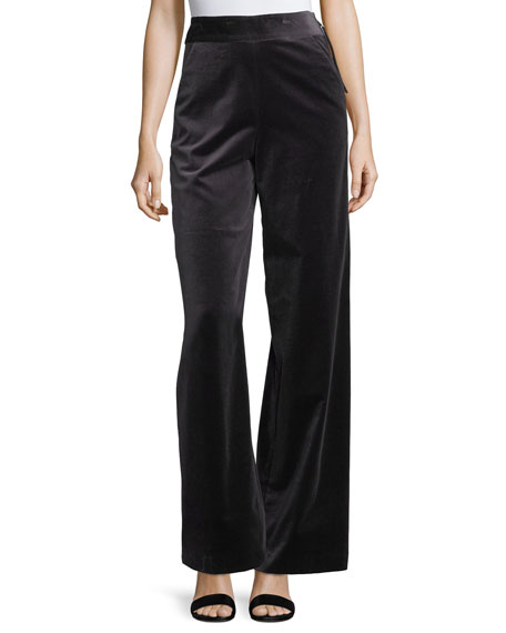 FRAME Velvet High-Waist Wide-Leg Pants