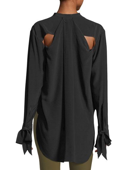 Dylan Long-Sleeve Silk Blouse w/ Tie Cuffs