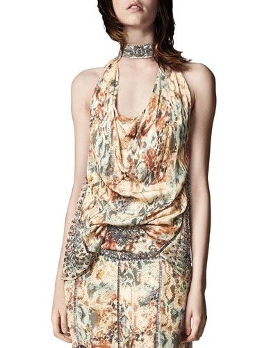 The Orian Draped Halter Silk Tank w/ Embellishments
