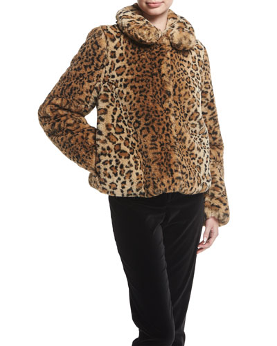 Jerrie Leopard-Print Faux-Fur Coat