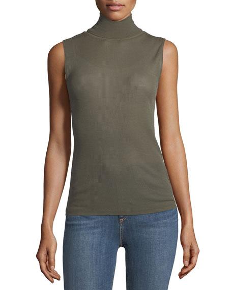 Nova Sleeveless Turtleneck Sweater w/ Mesh Inserts