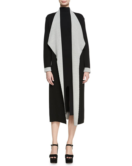 Lucila Double Knit Open-Front Long Jacket