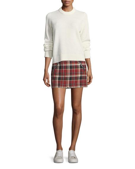 Leah Cotton Plaid Mini Skirt w/ Leather Trim