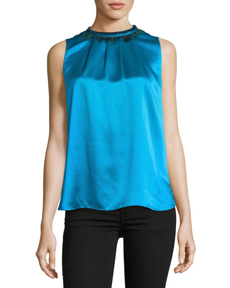 Betsy Sleeveless Silk Blouse w/ Peacock Feathers
