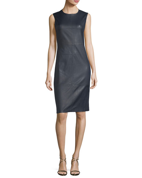 Eano Sleeveless Leather Sheath Dress