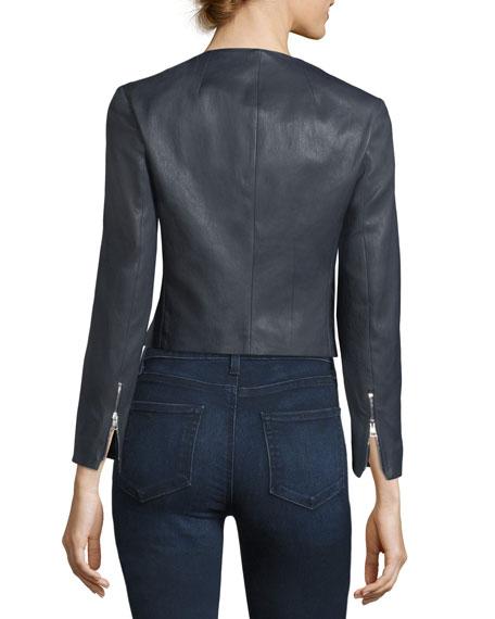 Morene Round-Neck Cropped Lamb Leather Jacket