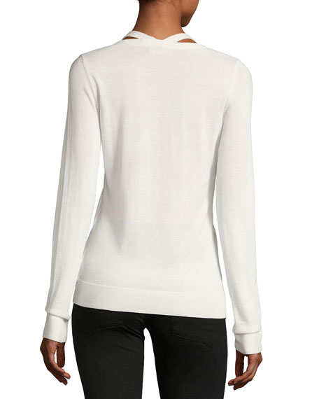 V-Neck Long-Sleeve Wool Sweater