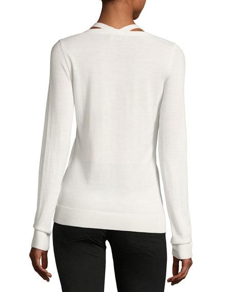 V-Neck Long-Sleeve Wool Sweater