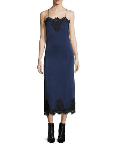 Luna Sleeveless Side-Slit Cocktail Slip Dress w/ Lace