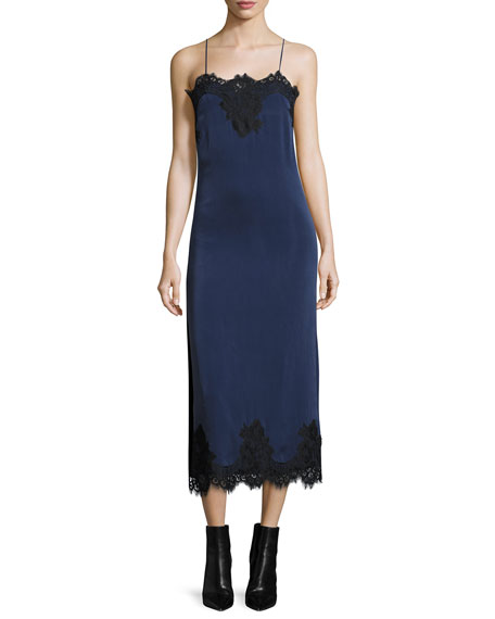 Luna Sleeveless Side-Slit Cocktail Slip Dress w/ Lace