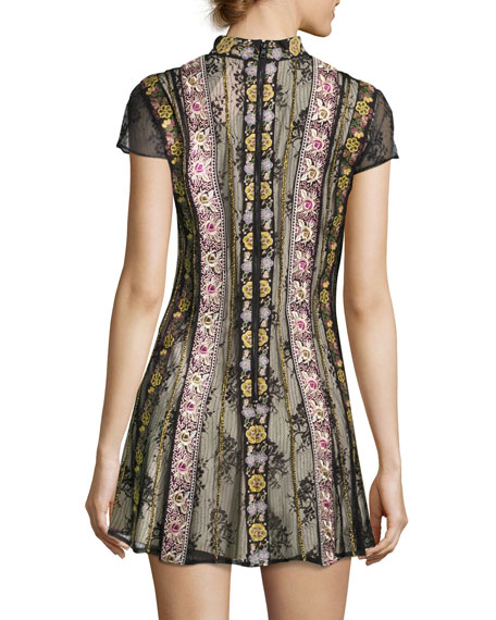 Gwyneth Mock-Neck Floral-Embroidered Cocktail Dress