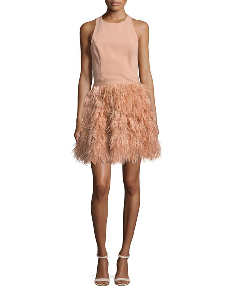 Philomena Feather-Skirt Cocktail Dress