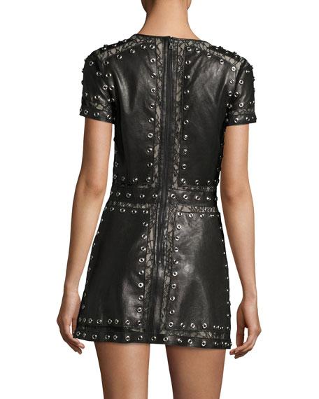 Tahlia Short-Sleeve Studded Leather A-line Mini Cocktail Dress