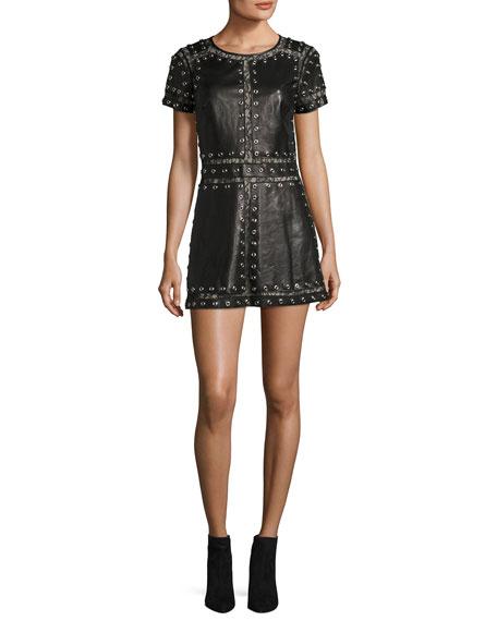 Alice Olivia Tahlia Short Sleeve Studded Leather A Line Mini Tail Dress