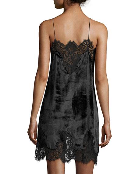 Charice Short A-line Lace/Velvet Cocktail Slip Dress